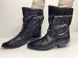 VTG MENS UNBRANDED COWBOY BLACK BOOTS SIZE 12 D