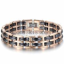 Men's Women's Rose Gold Tone Stainless Steel Chain Black Ceramic Link Bracelet
