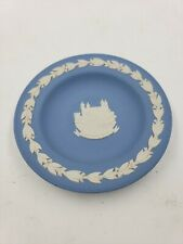Vintage blue Jasperware Wedgwood Round Trinket Dish, Tower Of London, 4.5 X 4.5�