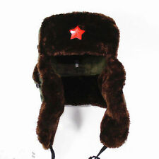Warmth Russian Army Trooper Winter Hat Ushanka Green Warm Cap Red Star Badge