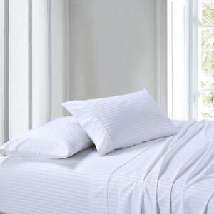 100% Cotton Bed Sheet Set Damask Sateen Stripes Deep Pocket 300 Thread Count