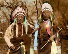 """TWO CHEYENNE CHIEFS 1924 NATIVE AMERICANS 8x10"""" HAND COLOR TINTED PHOTOGRAPH"""