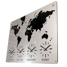Roco Verre Acrylic Time Zone Map Clock