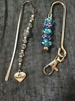 Lot of 2 Metal Bookmarks with Glass and Silver Beads With #1 Grandma Charm