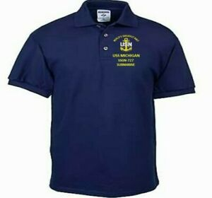 USS MICHIGAN  SSGN-727 SUBMARINE NAVY EMBROIDERED LIGHT WEIGHT POLO SHIRT
