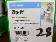 100 Zip-It Self Drilling Anchors #8 Nylon