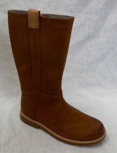 BNIB Clarks Comet Wild Girls Tan Leather Boots F/G Fitting
