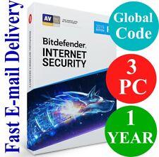 Bitdefender Internet Security 3 PC / 1 Year (Unique Global Key Code) 2020