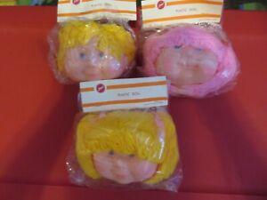 3 Vintage Zims Plastic Doll Making Heads Girl long yellow sho  yarn Hair