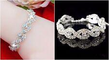 Diamante Rhinestone Bridal Bracelet Silver Crystal Plated Wedding Adjustable S-m