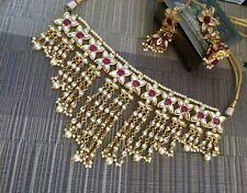 Indian jewellery set gold earrings necklace Tika Jhumar Pearls  Ruby