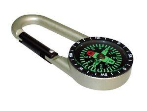 Geocache Compass  D-carabiner Ring - Stainless Steel Ridged Design