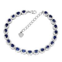 Heated Oval Blue Sapphire Kanchanaburi 4x3mm Cz 925 Sterling Silver Bracelet 7.5