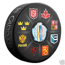 2016 World Cup of Hockey 8 Teams Souvenir Hockey Puck Canada USA Russia Finland