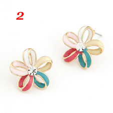 Fashion Women MultiColor Crystal Butterfly Flower Stud Earrings Jewellery Gift