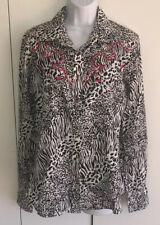 Sherry Cervi Embroidered Animal Print Pearl Snap Western Shirt Sz L EUC