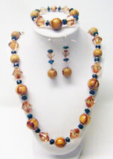 Chunky Natural Wood & Acrylic Bead Necklace/Bracelet/Earrings Set