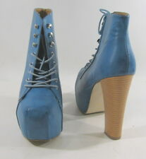 """Blue  5.5"""" high heel 2.5"""" platform round toe lace up  ankle sexy boot size 10"""