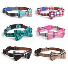 Durable Dog Lead & Bow Collar made of Leather with Tartan Design Pet Decoration