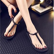 Girl Beach Summer Retro Jelly Flip Flop Sandals Women Clip Toe Shoes Hot 38@