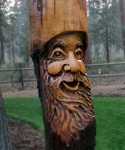 Wood Spirit Carving Forest Face Tree Wizard Log Home Gnome Cabin Art Sculpture