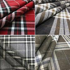 New Hard Wearing Durable Chenille Tartan Stripe Check Pattern Upholstery Fabric