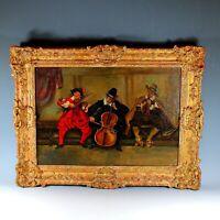 Cheerful Continental School Oil on Canvass Genre Scene of Three Musicians