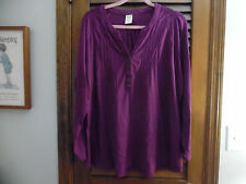 Faded Glory Purple Tunic Top With 3/4 Sleeves Size 4X 26W-28W