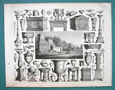 ROMAN Pompeii Street of Tombs Sarcophagi Artifacts- 1844 Antique Print Engraving
