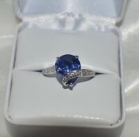 GLAMOROUS  6 CARAT 10X12mm  PREMIUM AAA TANZANITE  & DIAMOND COCKTAIL RING  S 6