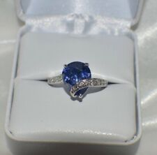 GLAMOROUS 5.10ct 10X12mm PREMIUM AAA TANZANITE & DIAMOND COCKTAIL RING S 6