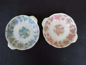 Vintage Art Deco Pair of Grafton China Pin Dishes England Floral Design 40's