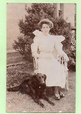 New ListingFlat Coated Retriever Dog Edwardian Lady 1913 Balcombe ? Antique Rp Postcard