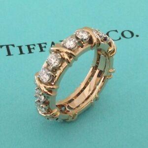 TIFFANY & Co. 18K Rose Gold Platinum Schlumberger Sixteen Stone Diamond X Ring 6