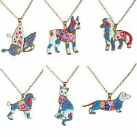 Fashion Rainbow Enamel Dog Cat Butterfly Pendant Necklace Women Jewelry Party