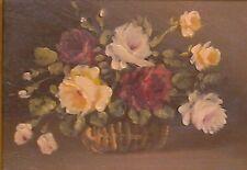 PEINTURE XIX ème NATURE MORTE FLEUR ANCIEN TABLEAU ANTIC PAINTING FLOWER ROSE