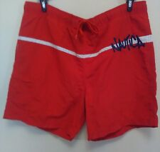 Nautica Men's Large L Red W/white Trim, Blue Logo Swim Trunks