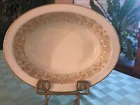 "Noritake RAPHAEL Dinnerware China 10"" Oval Vegetable Serving Bowl White & Gold"