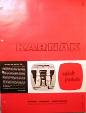 KARNAK Asphalt Products Catalog ASBESTOS Roof Flooring Mastic Waterproofing 1966