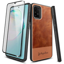 For Samsung Galaxy S10 Lite Case Brown Leather Cover + Tempered Glass Protector