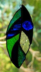 ' COBALT BLUE LEAF ' Real Stained Glass ABSTRACT SUNCATCHER Artisan Unique GIFTS