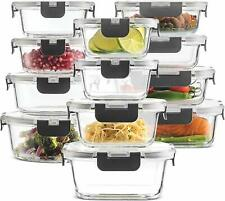 24-Piece Superior Glass Food Storage Containers Set - 100% Leak Proof Containers