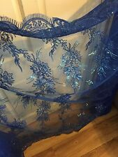 1 MTR (NEW) ROYAL BLUE  SCALLOPED EMBROIDED SEQUENCE BRIDAL LACE NET FABRIC