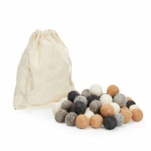 50 Wool Felt Pom Poms with Drawstring Bag, Handmade Garland Balls (5 Colors)