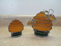 Vtg Bee Hive Stained Glass Sun Catcher Bees Honey Art Deco Flowers