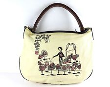 100% Auth MIUMIU Peynet Canvas Leather Shoulder Bag White Brown Made In Italy