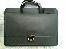 CALVIN KLEIN LEATHER BRIEFCASE LAPTOP BAG GREY NEW AUTHENTIC