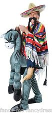 Mens Step in Ride On Mexican Donkey Wild West Cowboy Fancy Dress Costume Outfit