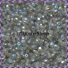 100 Perles de bohème facette 4mm Tchèque coloris Black diamond AB