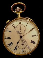 EXTREMELY RARE LONGINES 18K SPLIT SECOND CHRONOGRAPH POCKET WATCH circa 1920